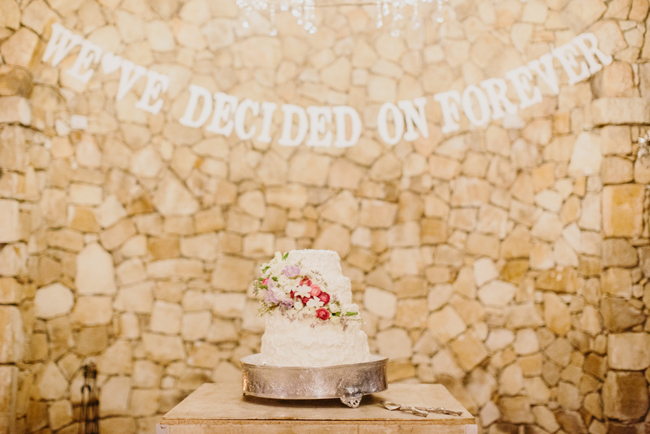 Charming Forest Wedding Cake with Letter Bunting  Credit: Carolien & Ben