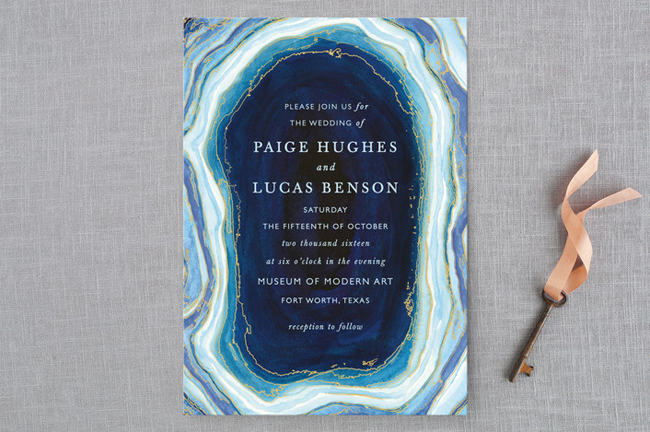 Blue agate wedding invitation