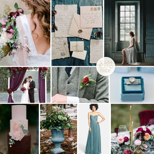 Berry & Teal Inspiration Board | SouthBound Bride