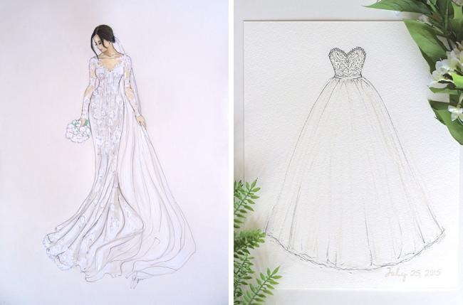 Wedding Dress Sketch Gift: 10 Custom Bridal Illustration Keepsakes