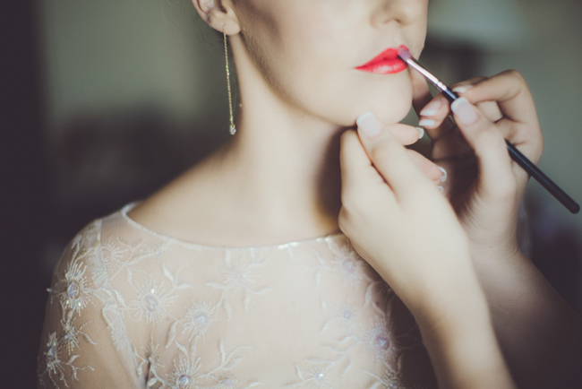 Orange Red Lipstick Bride   Image: Fiona Clair