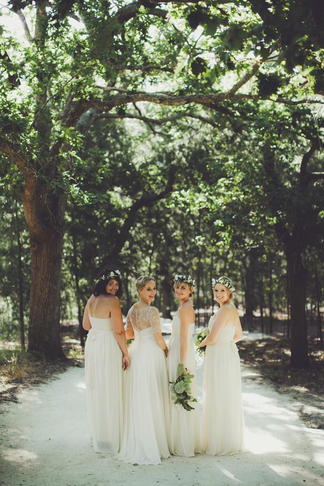 Bridesmaids in White Maxi Dresses   Image: Fiona Clair