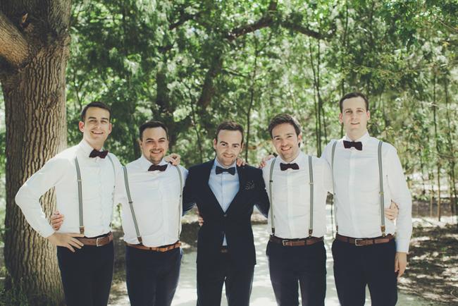 Groomsmen in Bowties & Suspenders   Image: Fiona Clair
