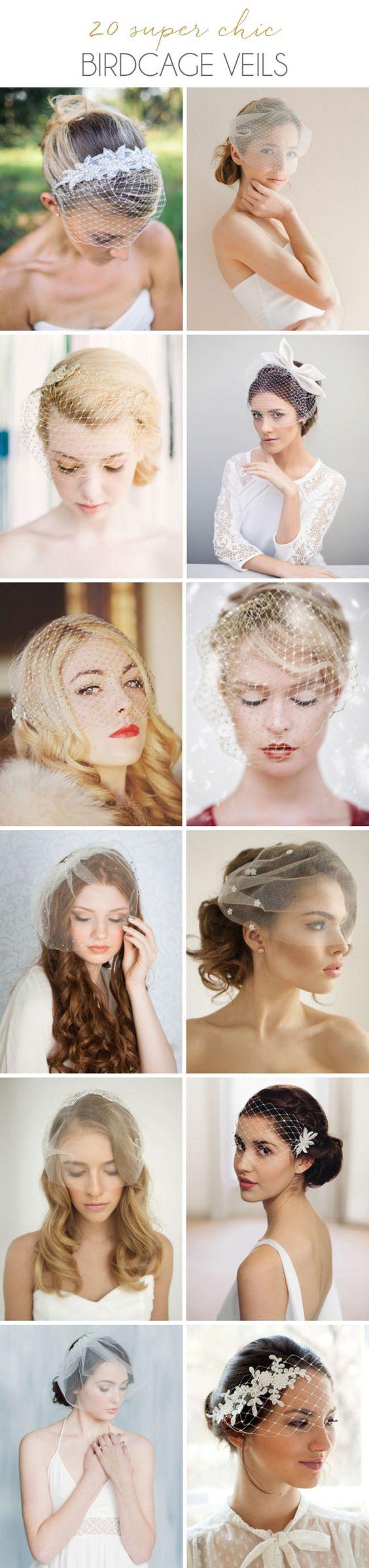 Chic Birdcage Veils on SouthBound Bride