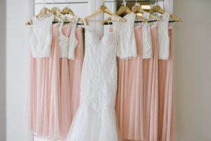 Row of Peach and White Bridesmaid Dresses