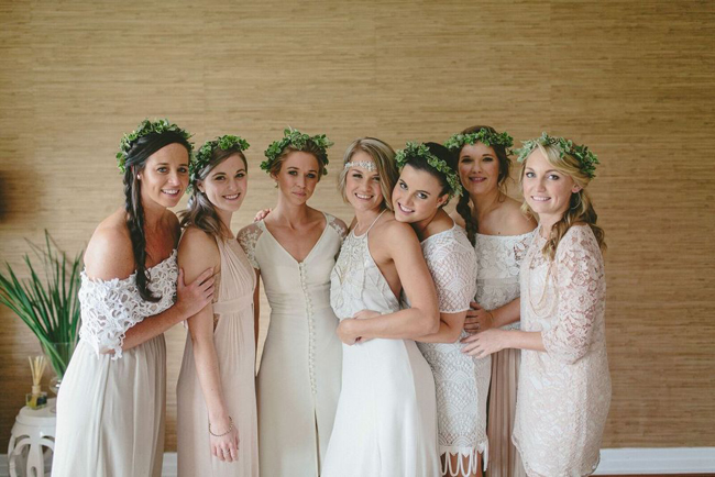 Bridesmaids in Greenery Crowns
