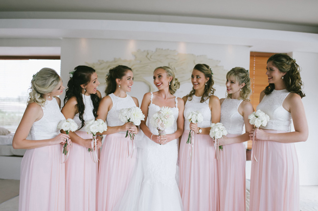 Peach Bridesmaid Dresses Tops and Skirts