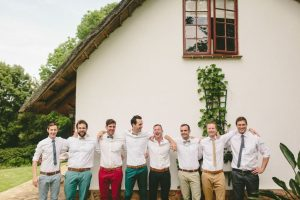 Groomsmen in Mismatched Pants