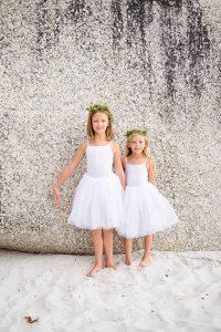 Flower Girls in White Dresses for Beach Wedding