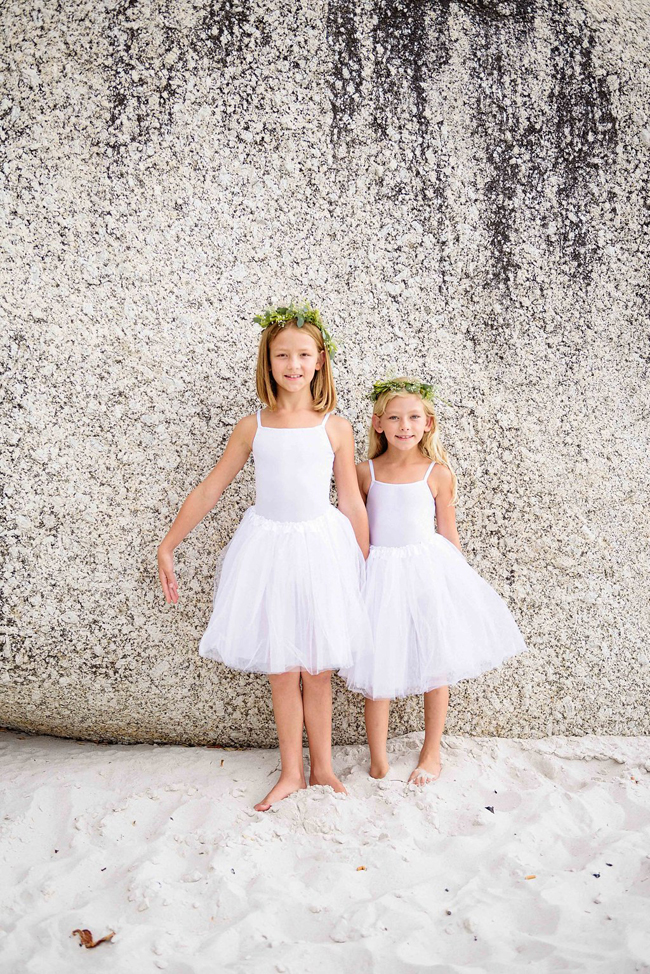 Flower Girls in White Dresses for Beach Wedding