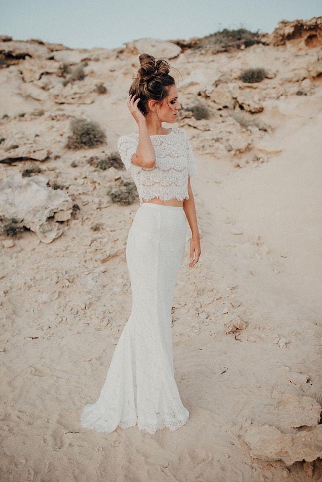 Crop Top Two-piece Boho Wedding Dress