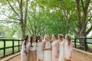 Bridesmaids in Boho Lace Dresses