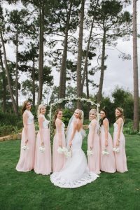 Peach Two-piece Bridesmaid Dresses