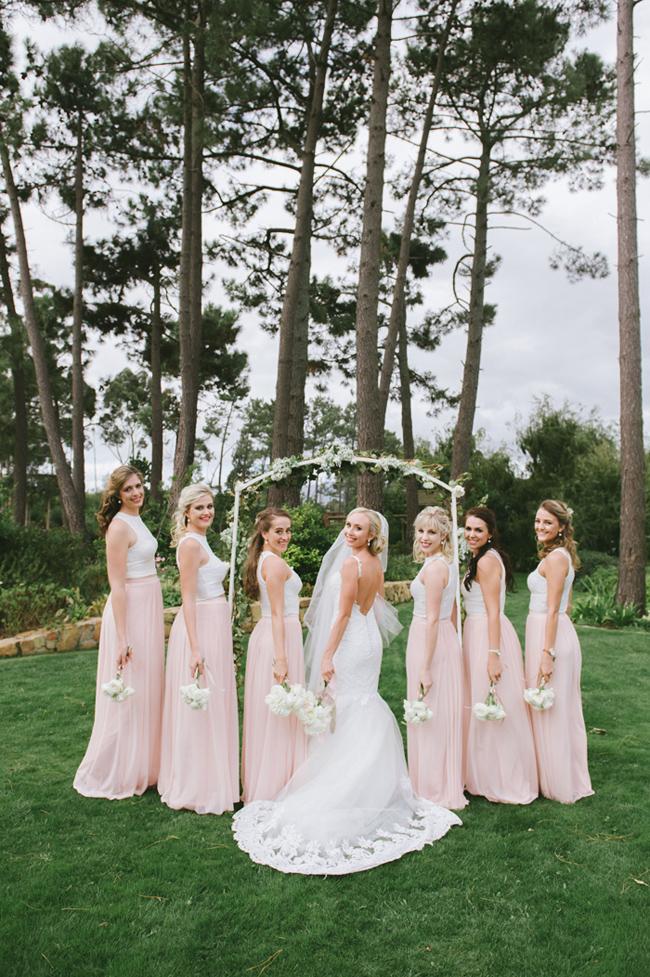 Peach Two-piece Bridesmaid Dresses
