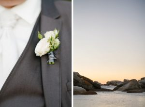 White Boutonniere on Grey Suit