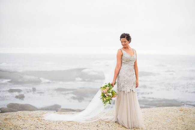 Bride in Elegant Grey Lace Dress