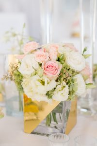 Gold Painted Glass Vase Centerpiece