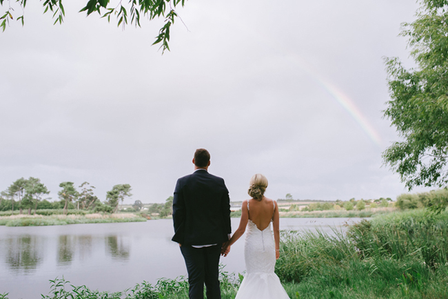 Bride & Groom with Rainbow