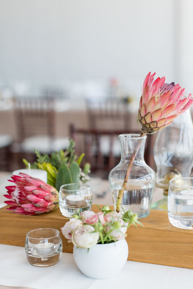 Protea & Glass Vase Centerpiece