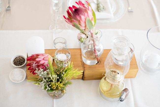 Protea & Wood Centerpiece