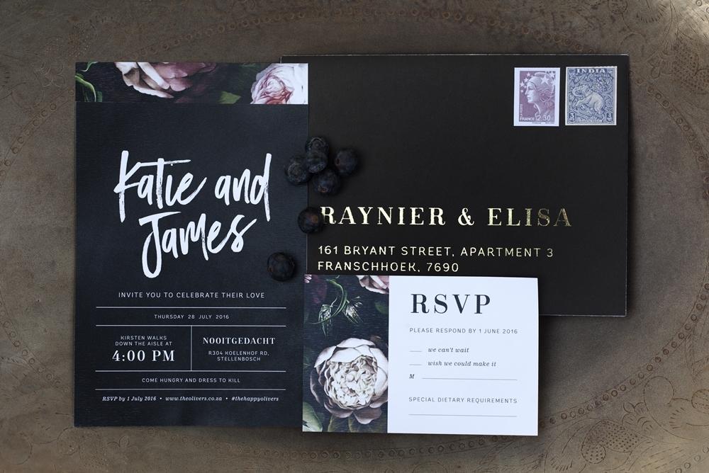 Black Wedding Invitation | Credit: Mooi Photography