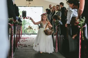 Gold Sequin Flower Girl Dress   Credit: Knot Just Pics