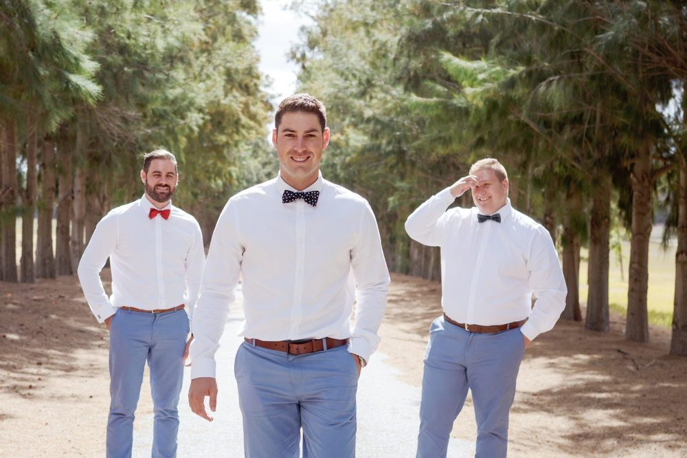 Groomsmen in Pastel Blue & Bowties