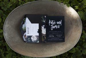 Black Floral Print Wedding Invitation | Credit: Mooi Photography