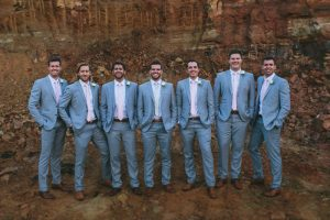 Groomsmen in Light Grey Suits | Credit: Knot Just Pics