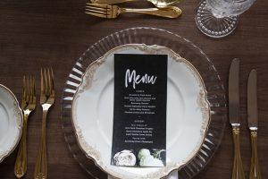 Black Wedding Menu | Credit: Mooi Photography