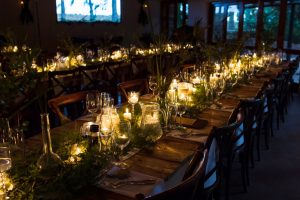 Long Tables with Greenery Runners & Candles