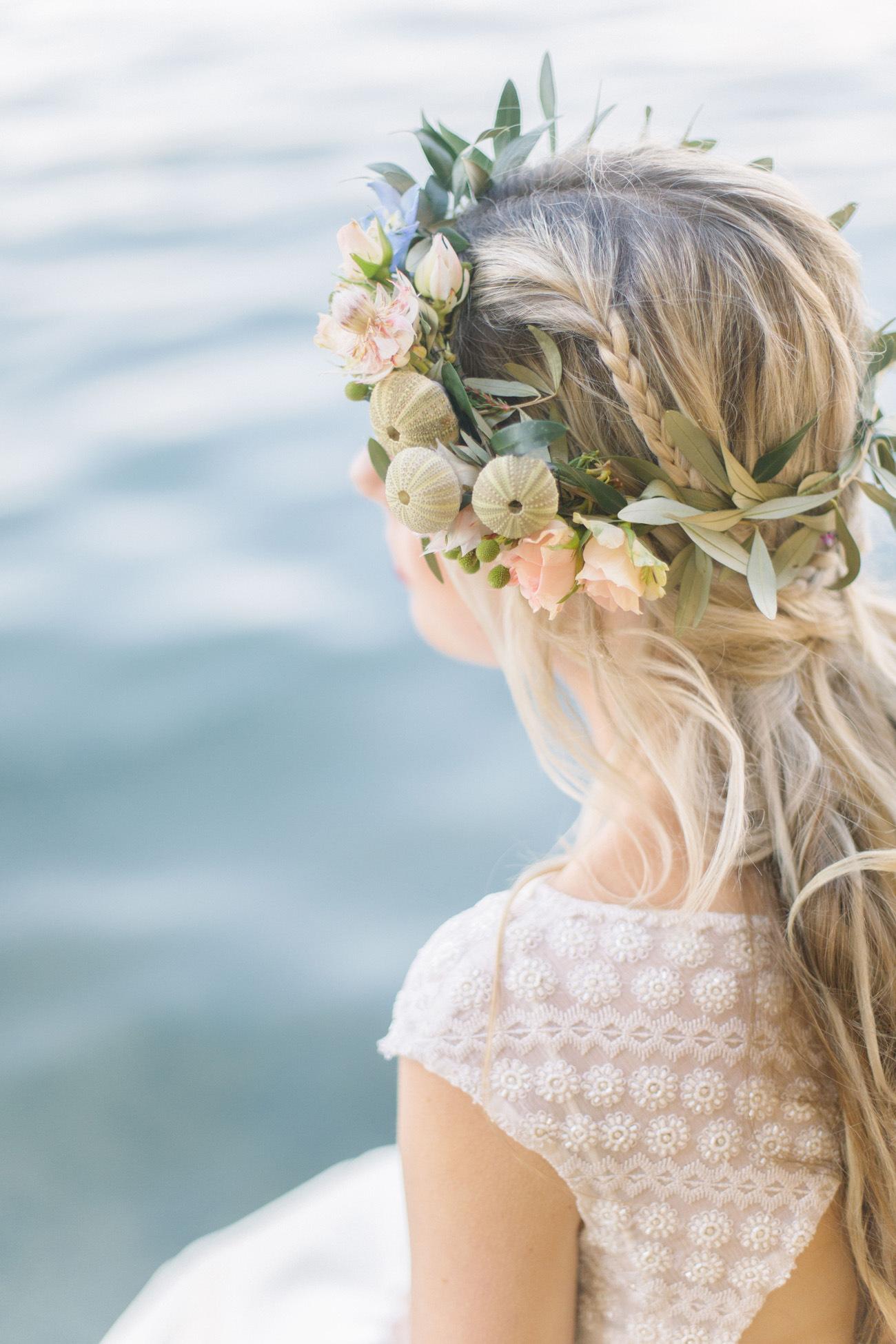Boho Beach Bride Urchin Flower Crown