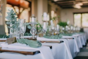 Wedding Tablescape with Greenery Centerpieces | Credit: Michelle du Toit