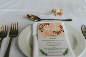 Peach Watercolor Menu | Credit: Knot Just Pics