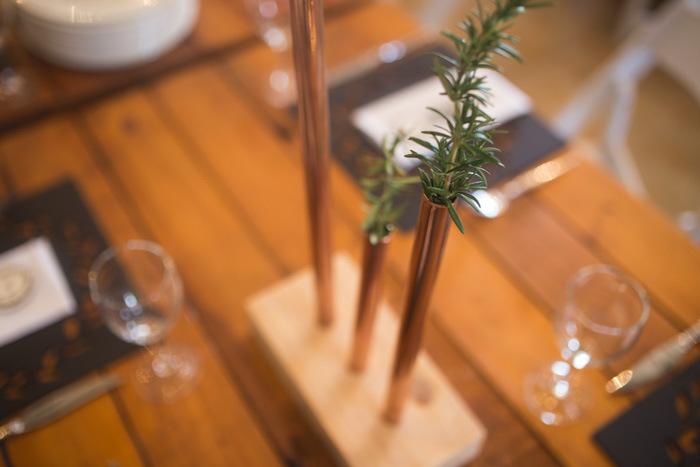 Copper Pipe Centerpiece | Credit: Those Photos