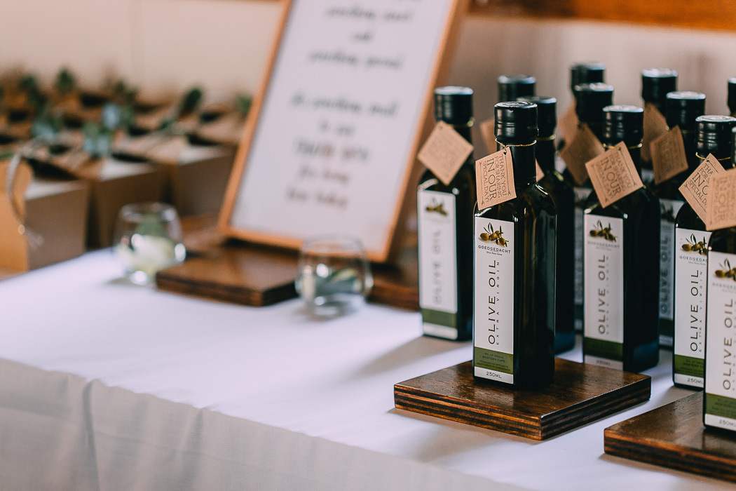 Olive Oil Wedding Favors | Credit: Michelle du Toit