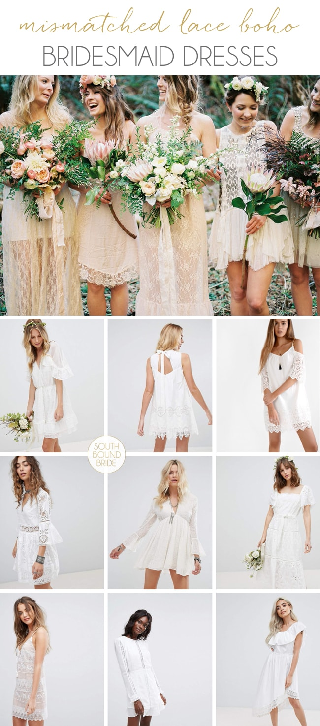 Mismatched White Lace Boho Bridesmaid Dresses | SouthBound Bride
