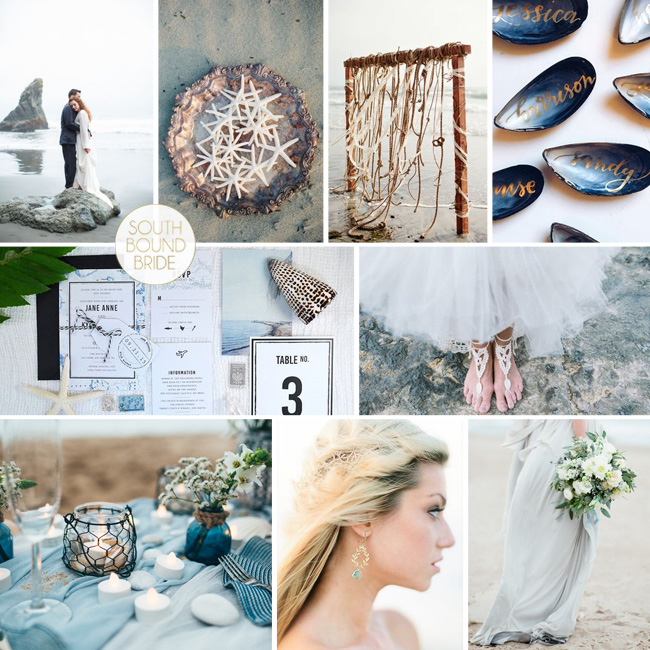 collage inspiration board dusky blue southbound bride