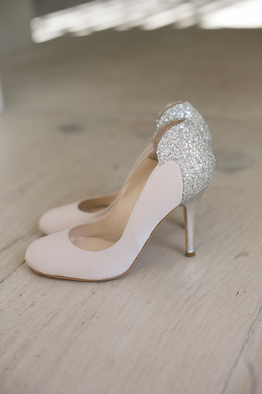 Glitter and Blush Wedding Shoes | Credit: Karina Conradie