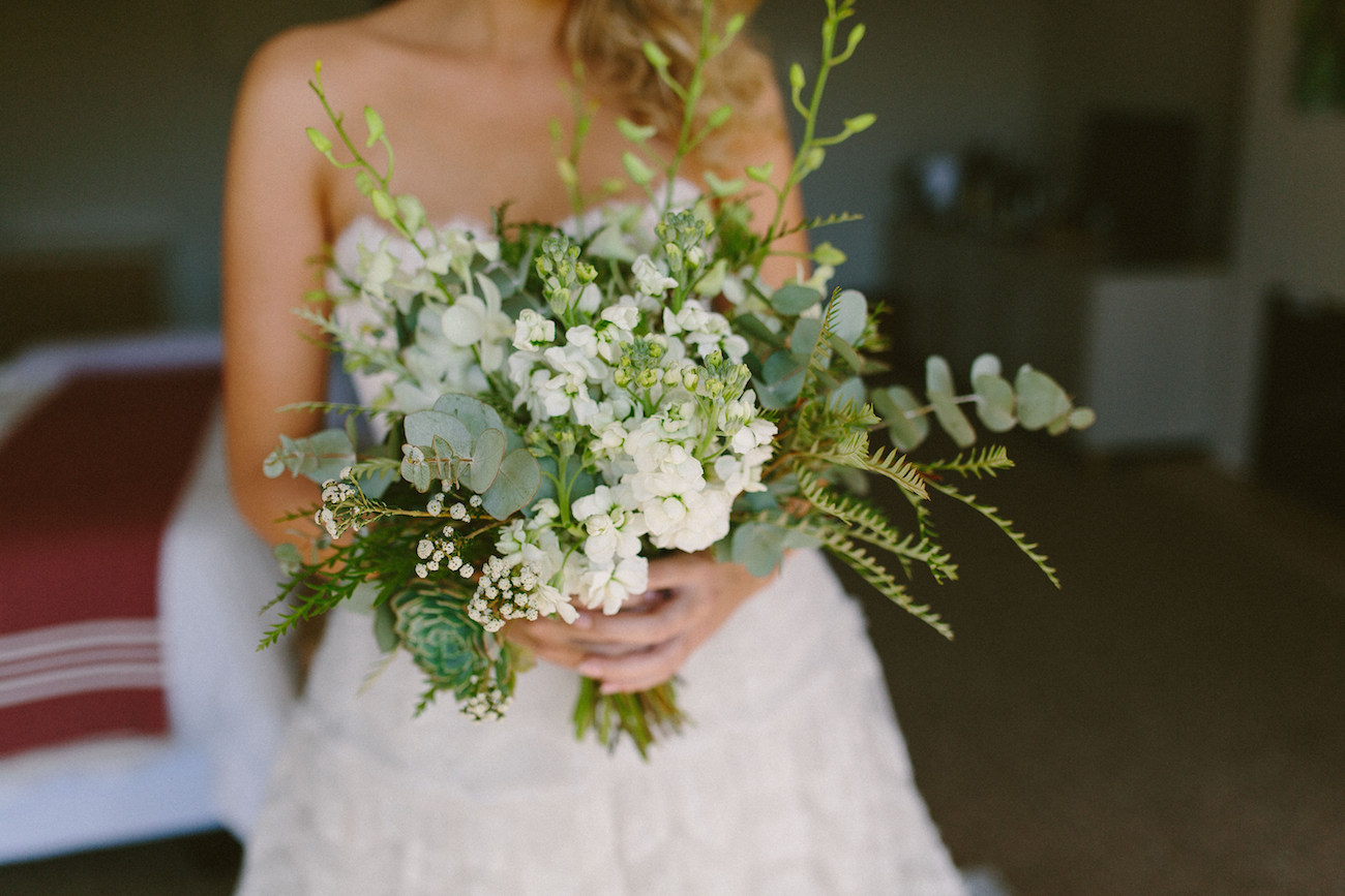 Greenery and White Flower Bouquet | Credit: Kikitography