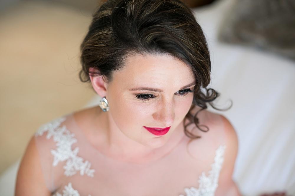 Bride with Red Lip | Credit: Karina Conradie