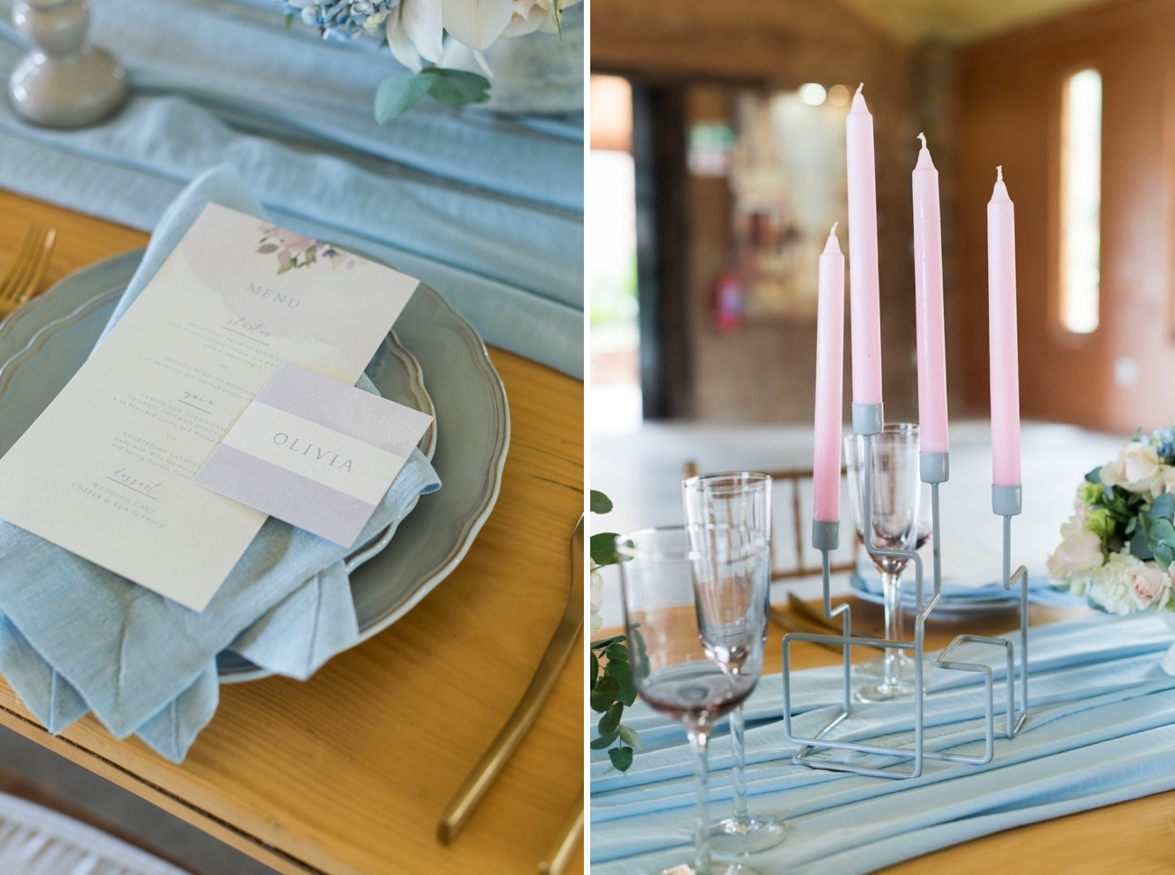 Pantone Serenity & Rose Quartz Wedding Inspiration | Credit: Jack & Jane Photography