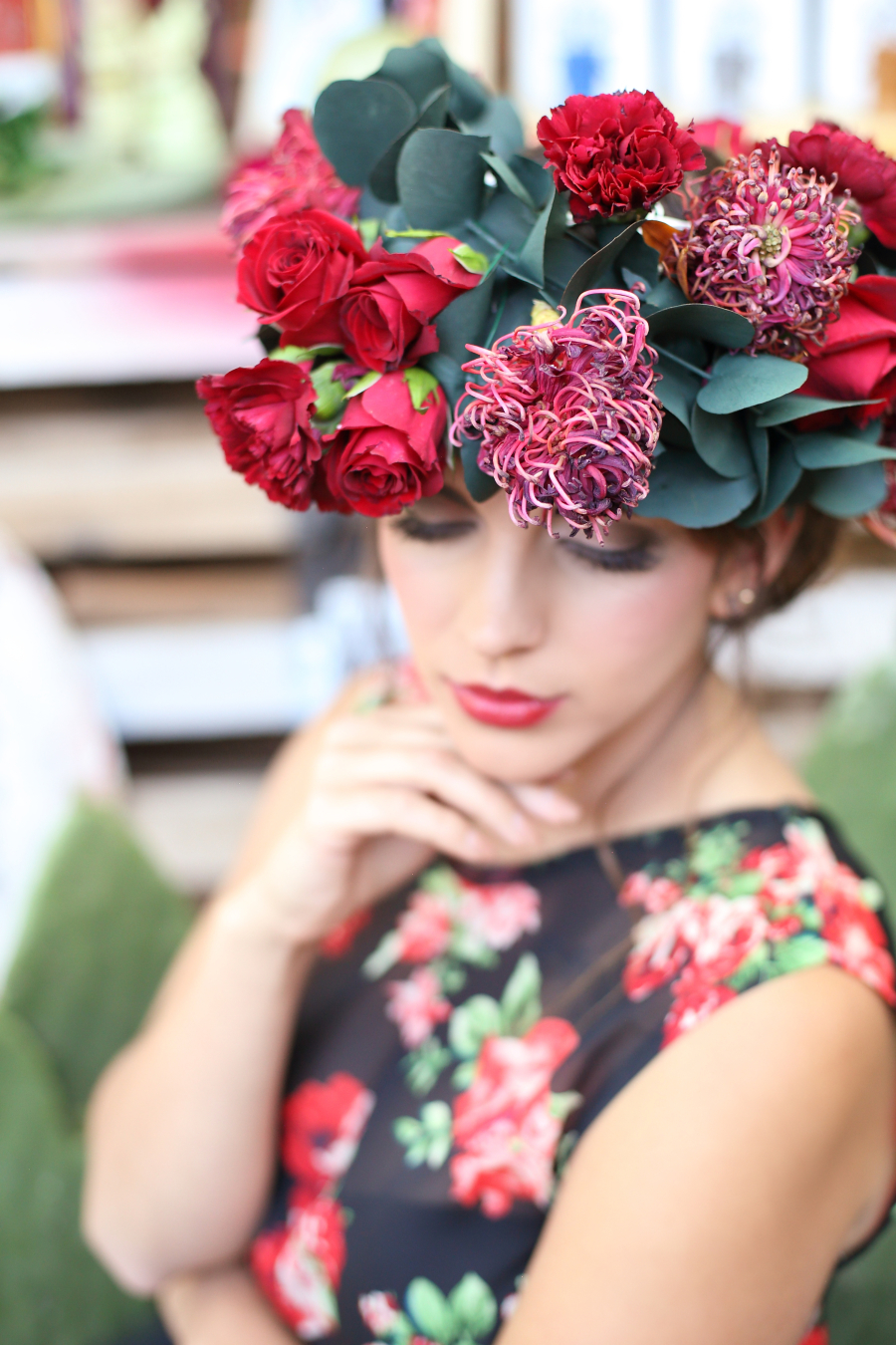 Bold Red Floral Crown | Credit: Hello Love Photography