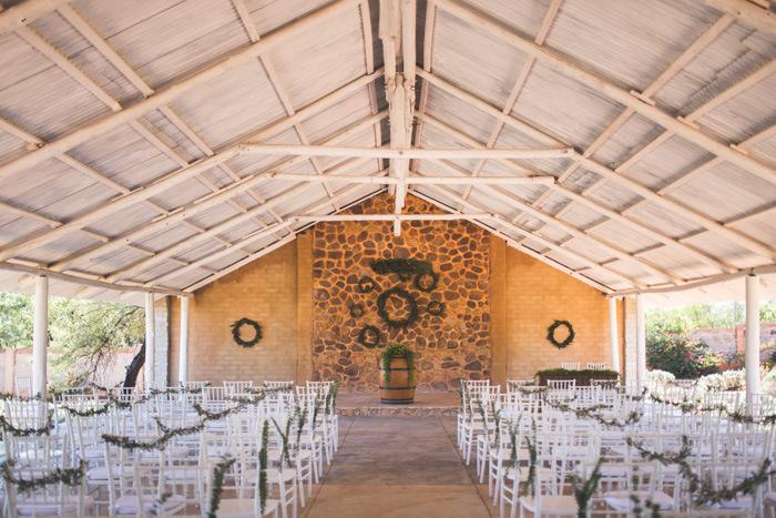 Autumn Greenery DIY Wedding Ceremony Decor | Credit: Those Photos