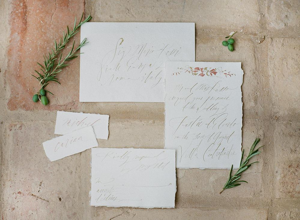 Romantic Calligraphy Wedding Invitation | Credit: Magnolia & Magpie Photography