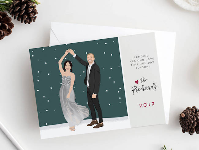 Christmas Cards for Newlyweds | Custom Portrait Cards