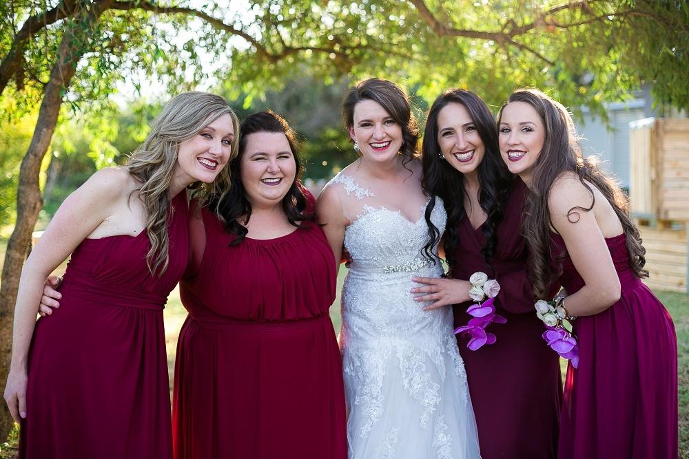Maroon Bridesmaid Dresses | Credit: Karina Conradie