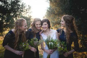 Bridesmaids in Navy Lace Dresses | Credit: Those Photos