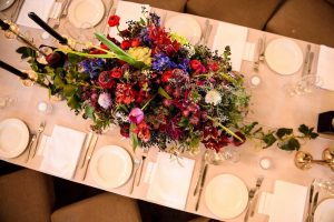 Tablescape with Colorful Flowers | Credit: Vizion Photography