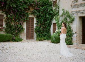 Low Back Claire Pettibone Wedding Dress   Credit: Magnolia & Magpie Photography
